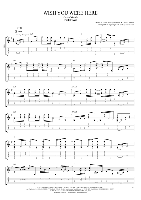 Wish You Were Here By Pink Floyd GuitarVocals Guitar Pro Tab