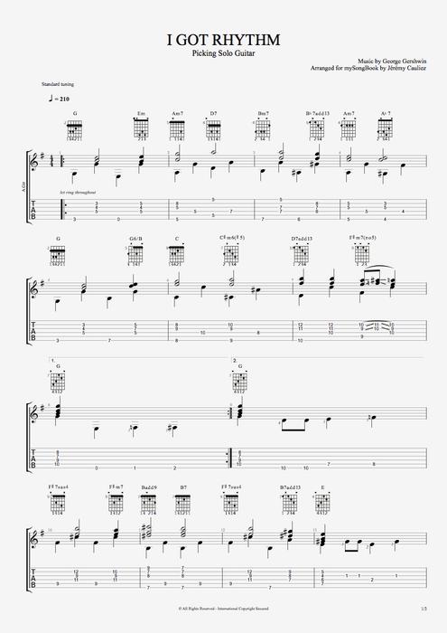 I Got Rhythm by George Gershwin  Picking Solo Guitar