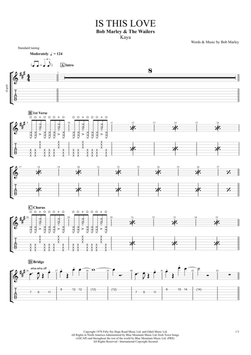 Is This Love by Bob Marley - Full Score Guitar Pro Tab | mySongBook.com