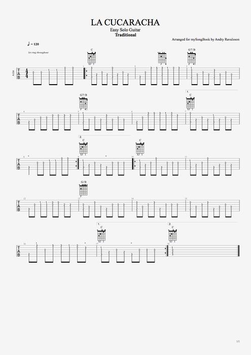 La Cucaracha by Traditional  Easy Solo Guitar Guitar Pro