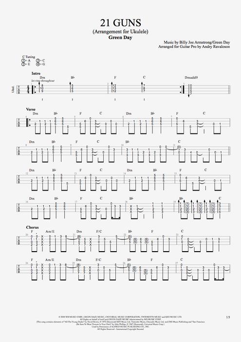 21 Guns by Green Day  Solo Ukulele Guitar Pro Tab