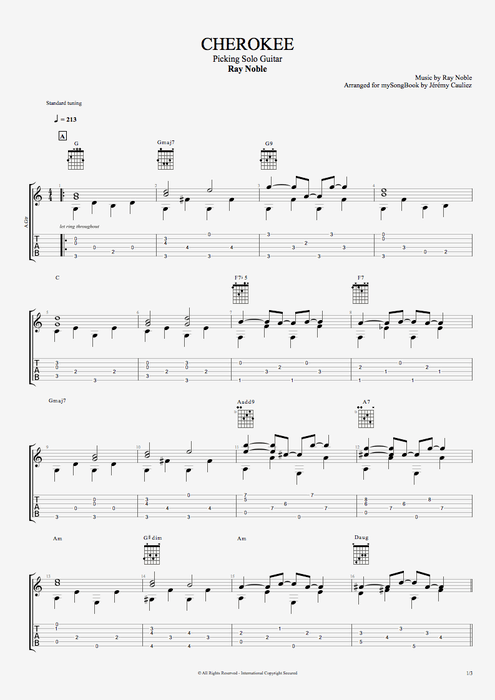 Cherokee by Ray Noble  Picking Solo Guitar Guitar Pro Tab