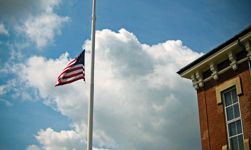 lag at half-staff in Southborough, Massachusetts