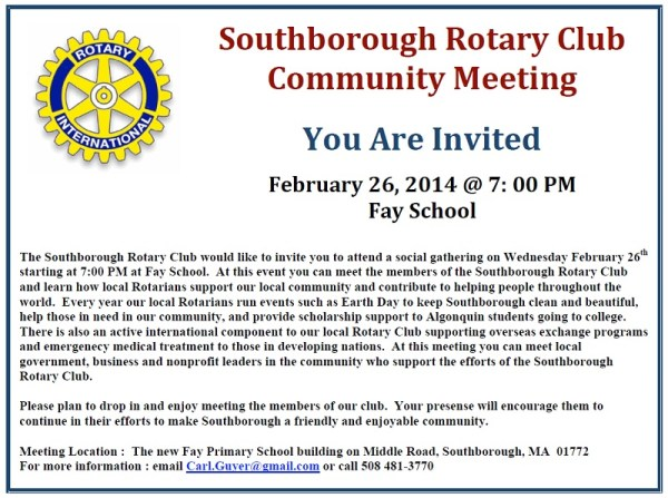 Come meet the Rotary Club February 26