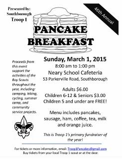 Boy Scout pancake breakfast this Sunday