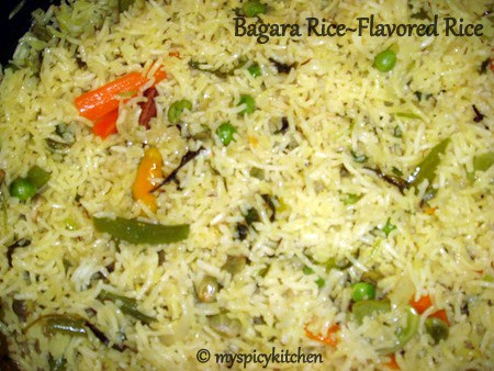 vegetable bagara, vegetable rice, flavored vegetable rice