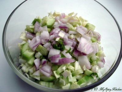 Chopped vegetables for the salad