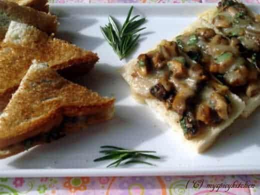 Mushroom bruschetta and sandwiches