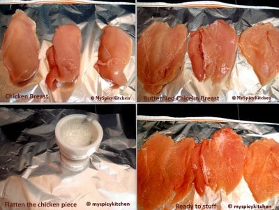 Preparation for stuffed chicken breasts