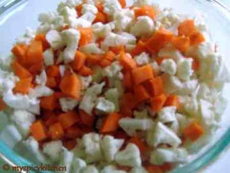 Carrot Cauliflower Pachadi, Carrot Pachadi, Cauliflower Pachadi, Gobhi Achar, Gajar A