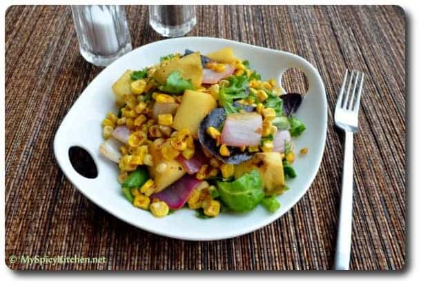 Mango Corn Salad with curried dressing