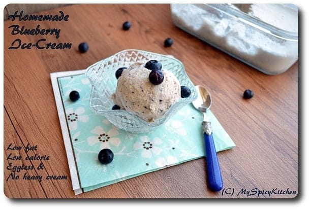 Low fat homemade blueberry ice cream, homemade vanilla ice cream