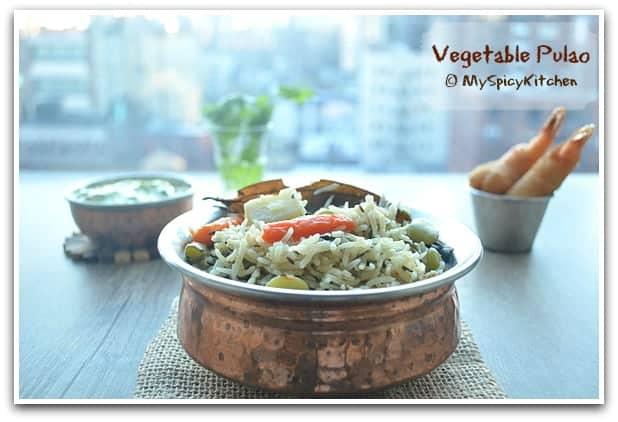 Vegetable Rice, Pilaf, Vegetable Pulav, Blogging Marathon, Pressure Cooker Recipe, One Pot Meal