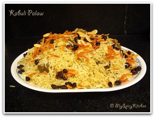 Afghan Pilaf, Qabili Pulao, Kabuli Palaw, blogging Marathon, National Dish