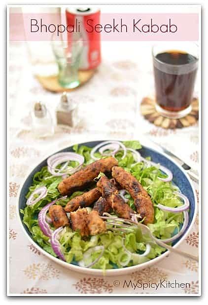 Blogging Marathon, Madhya Pradesh Cuisine, Chicken seekh kababs