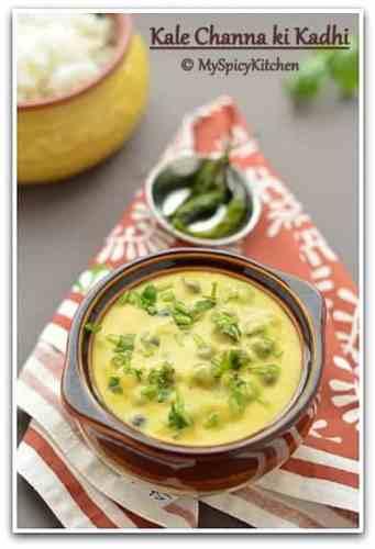 Whole Bengal Gram Kadhi, Whole Bengal Gram yogurt curry, black chickpeas yogurt curry, blogging marathon, Rajasthan Food, Marwari food, Marwadi Food