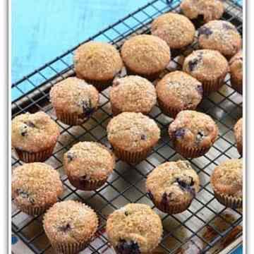 Blueberry muffins, flaxseed recipe, whole wheat flour muffins, blogging marathon, baking marathon, FireUpYourOven