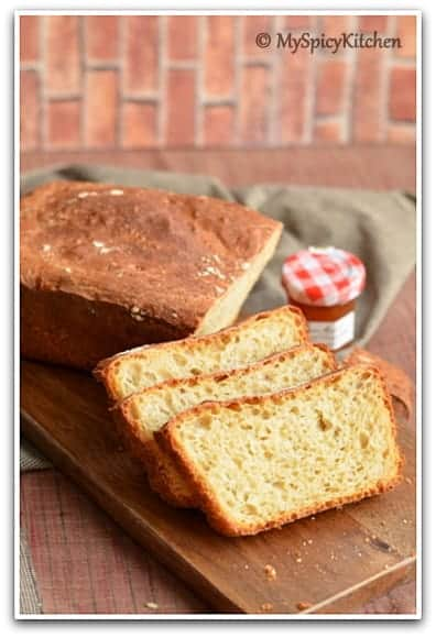 No Knead Light Wheat Loaf - MySpicyKitchen
