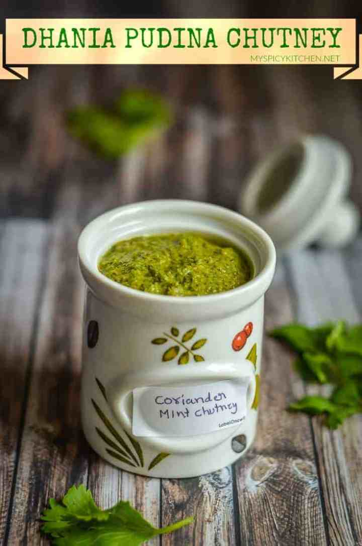 Dhania pudina chutney is a chutney with fresh coriander leaves, mint and green chilies.
