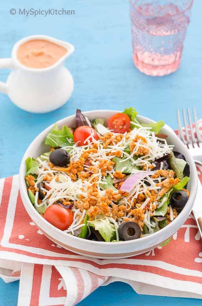 Salad, Ground Chicken Salad, Ground Chicken Salad with Taco Seasoning, Blogging Marathon, Taco Salad