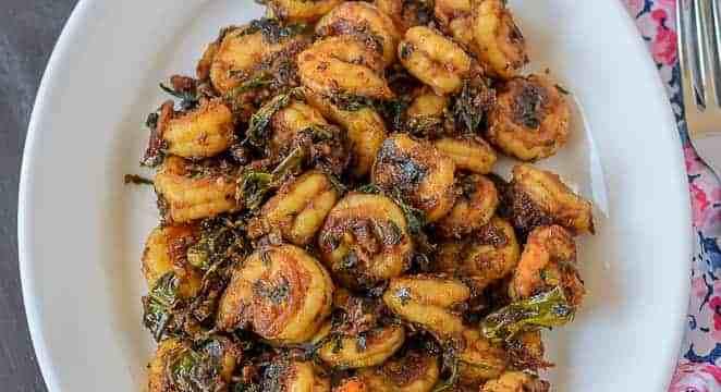 Blogging Marathon, Cooking Carnival, Protein Rich Food, Cooking With Protein Rich Ingredients, Cooking With Shrimp, Shrimp Recipes, Seafood, Prawns, Chili garlic methi shrimp stir fry, Prawns Stir Fry