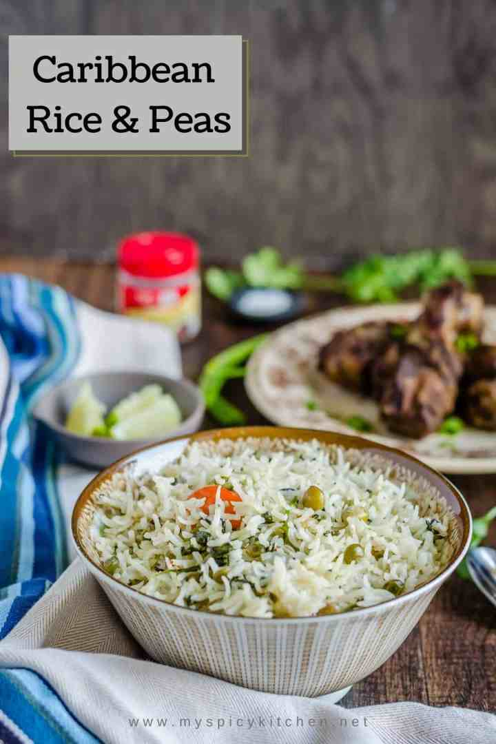 Caribbean rice and peas is seasoned with habanero pepper and flavored with chicken stock, Caribbean Rice and Peas, Caribbean Food, Caribbean Cuisine, Rice, Pigeon Peas,