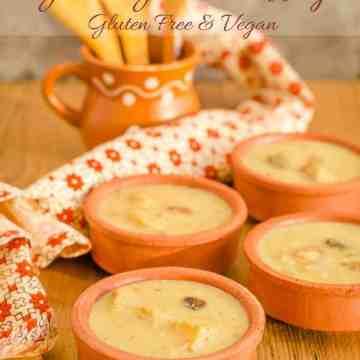 Bowls of moong dal payasam / green gram pudding, gluten free and vegan