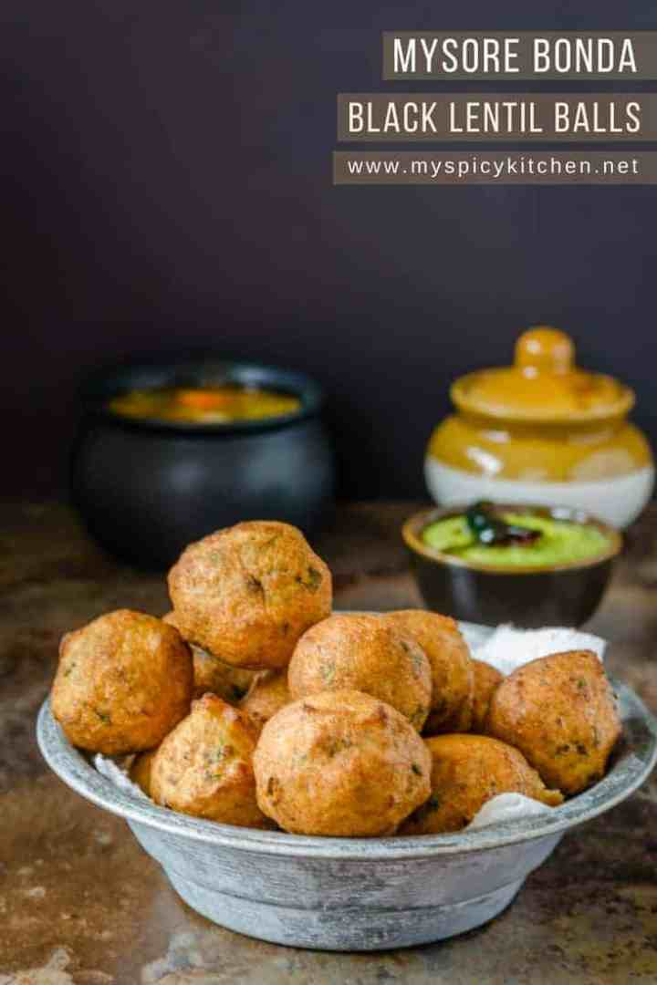 Mysore bonda is a spongy deep fried snack prepared with urad dal and is served with coconut chutney