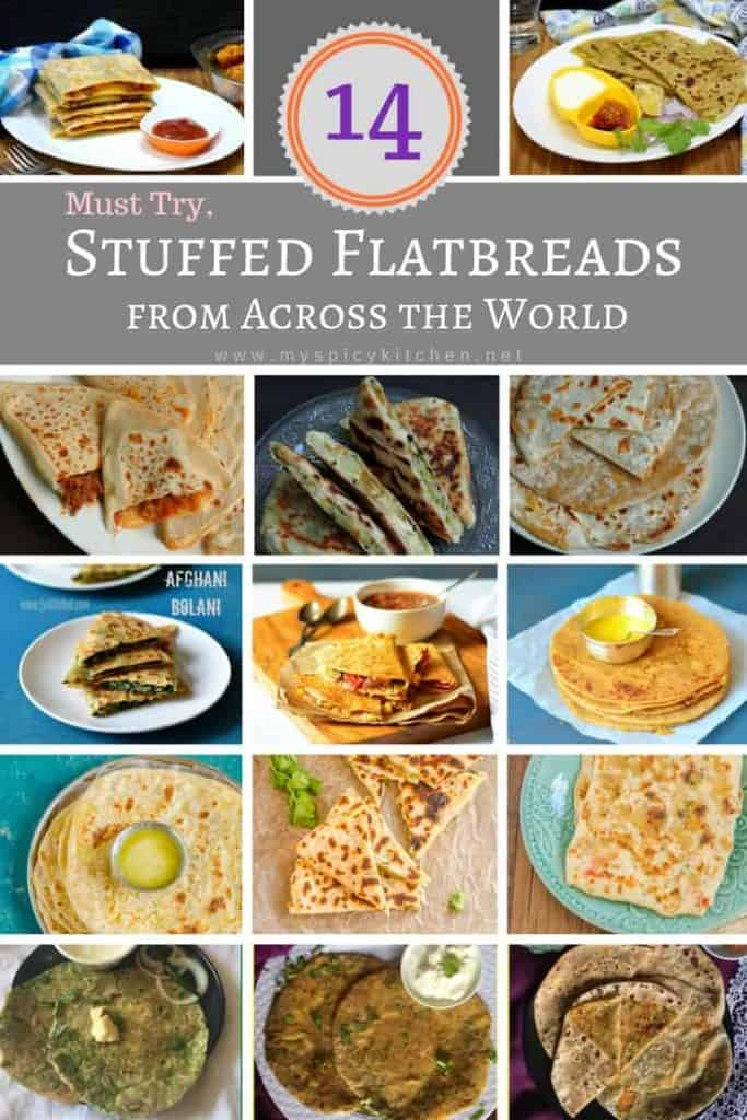 A collection of 14 stuffed flatbread recipes from around the world.