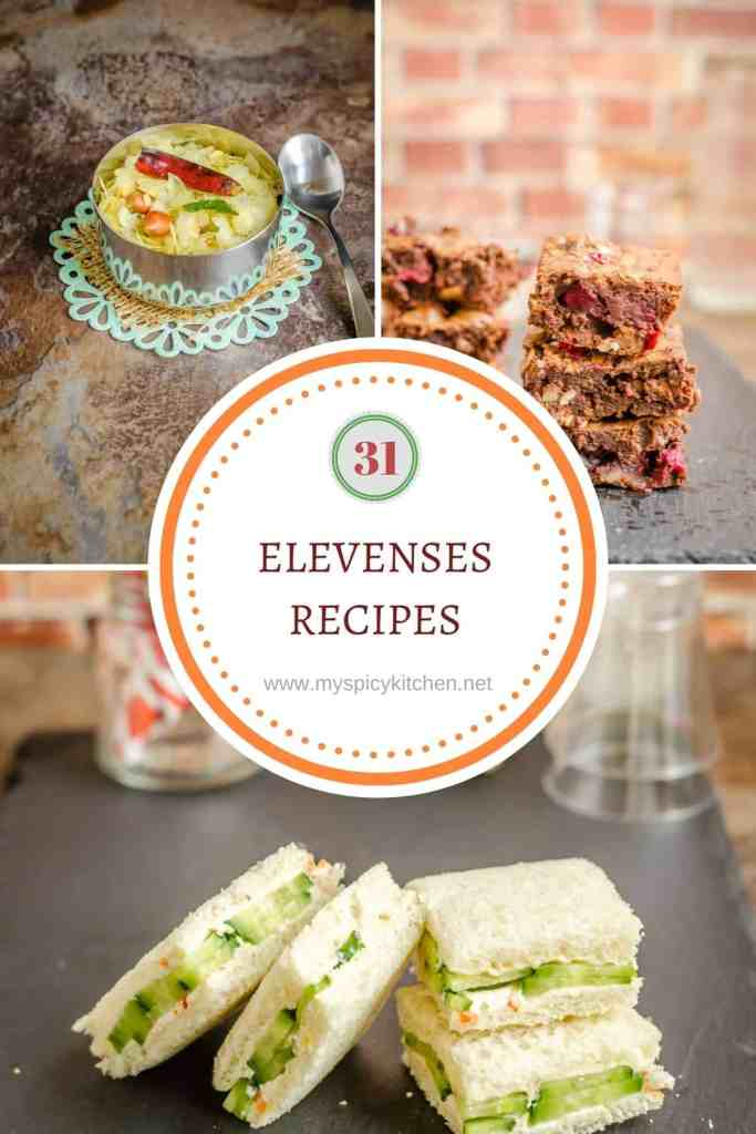 A round up collage of 31 delicious  elevenses recipes which include snacks and drinks