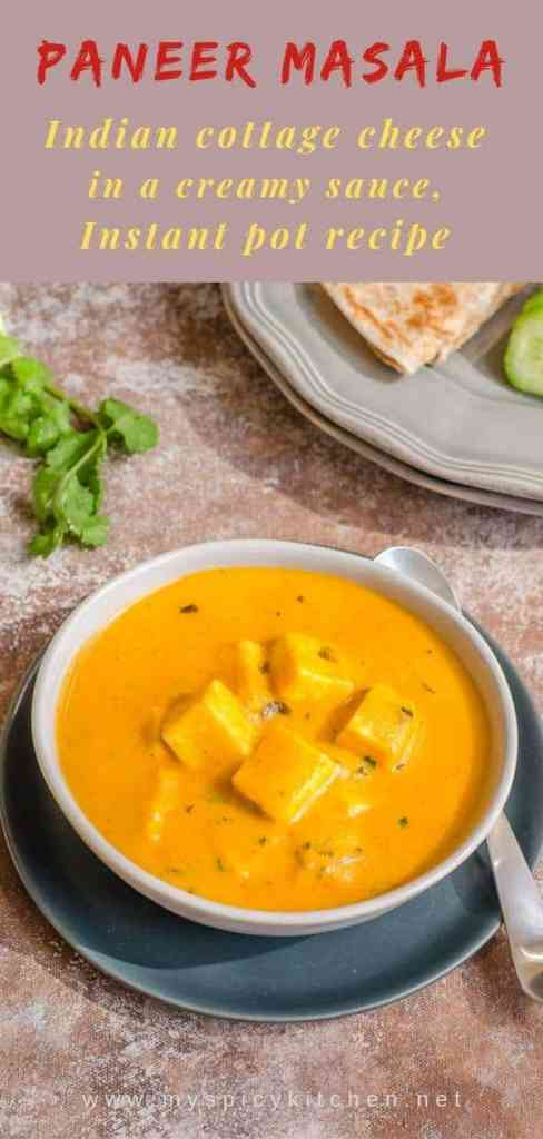 Bowl of creamy paneer masala with a roti.  An easy side dish for busy week nights.