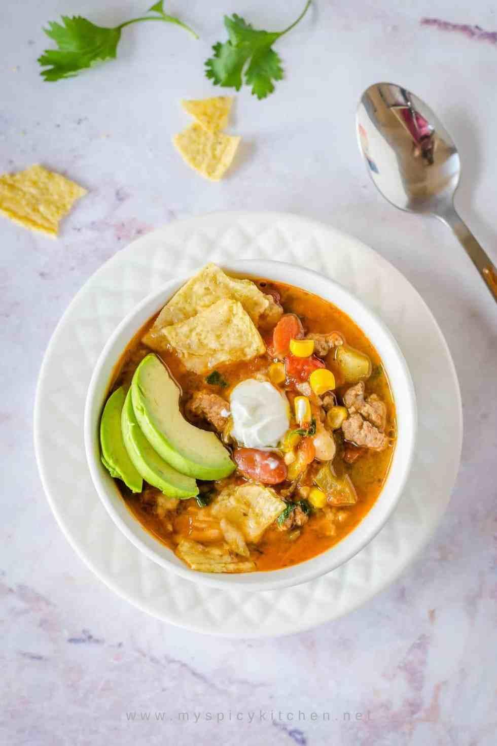 Bowl of ground lamb taco soup