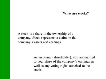 incorporate your small business, what are stocks