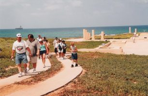 At Caesarea, along the Mediterranean Sea, our group leaves the ruins of Herod's palace to see the many other architectural wonders he built in this city.