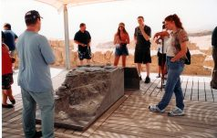 On the top of Masada our guide explains the model of King Herod's Dead Sea fortress palace. This helps visitors place the historical and cultural environment into perspective.