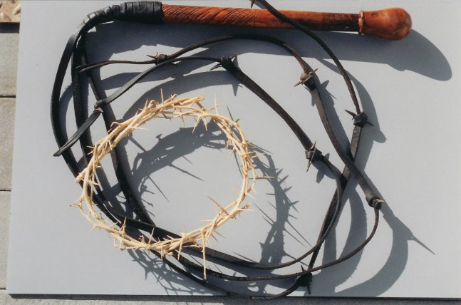A re-created flogging whip and crown of thorns is similar to what Jesus may have experienced.