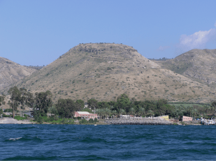 When Jesus said that a city set on the top of a hill cannot be hidden (Mt. 5:14), He probably meant Hippos located upon this mountain on the eastern side of the Sea of Galilee as it was the only city on a hill.