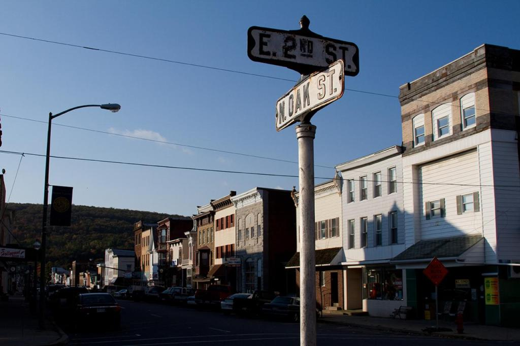 E. 2nd and N. Oak Streets in Mt. Carmel, where many residents moved after the fire began.