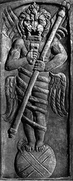 Die Löwenfigur im Mithras-Kult steht zentral über die Szene
