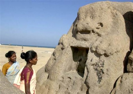 Lion statue that appeared after the December 26, 2004 tsunami on the beach of Mahabalipuram