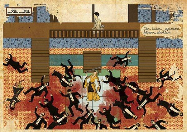 Turkish Artist Murat Palta Recreates Cult Movie Scenes As Ottoman Miniature Art kill bill