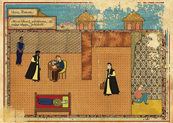 Turkish Artist Murat Palta Recreates Cult Movie Scenes As Ottoman Miniature Art pulp fiction
