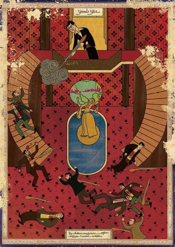 Turkish Artist Murat Palta Recreates Cult Movie Scenes As Ottoman Miniature Art scarface