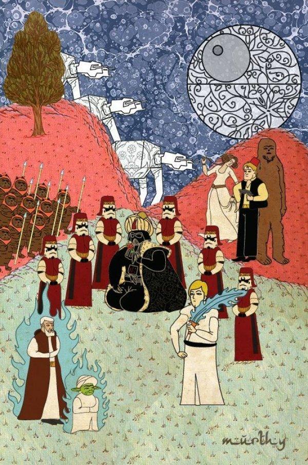 Turkish Artist Murat Palta Recreates Cult Movie Scenes As Ottoman Miniature Art star wars