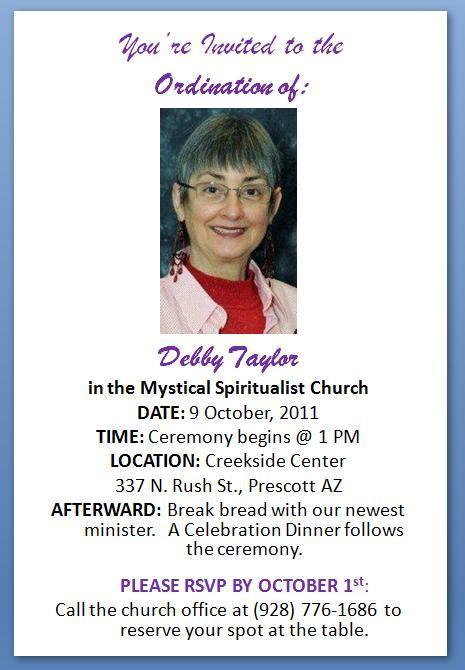 Ordination Ceremony Invitation - Ideen für Hausdesign