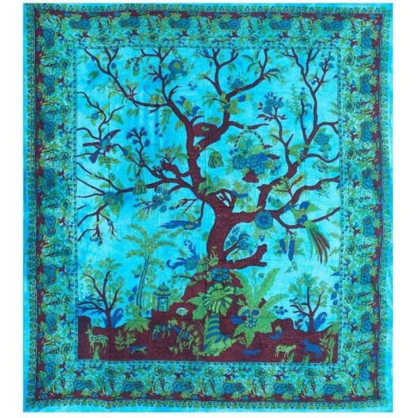 Tree of Life Blue Double Tapestry 84 x 100 Cotton Wall