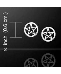 Pentagram Pentacle Tiny Stud Earrings in Sterling Silver ...