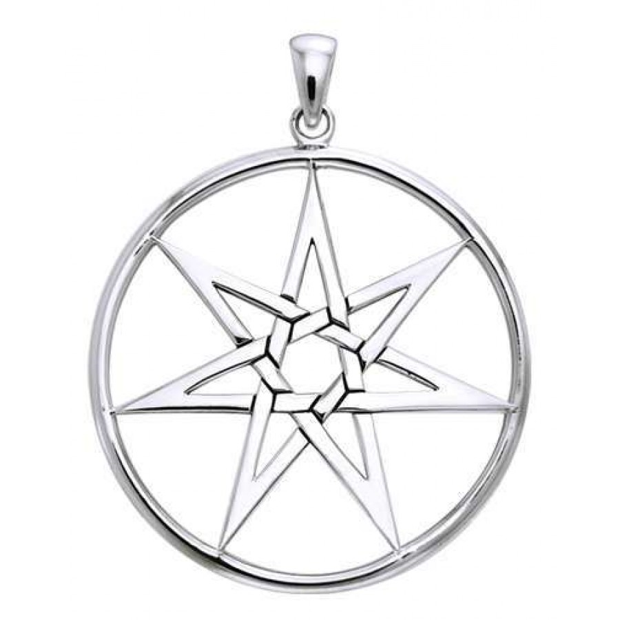 Elven 7 Pointed Star Large Pendant in Sterling Silver