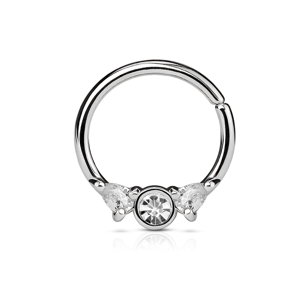 Steel Bendable Septum Cartilage Rings With Prong Set Czs