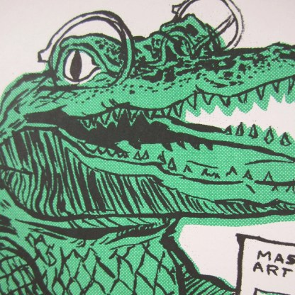 Risograph art print detail of an alligator wearing corrective lenses
